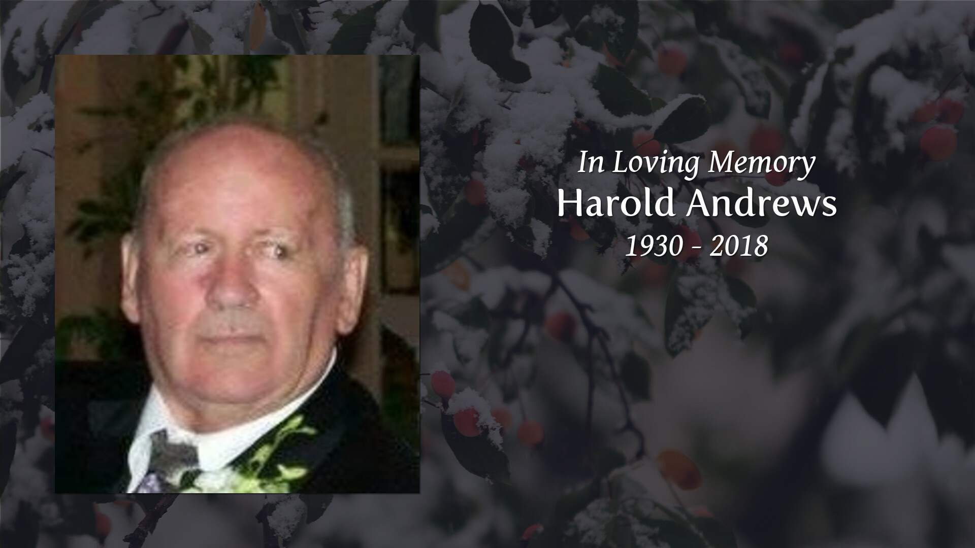 Obituary of Harold Andrews | M W  Becker Funeral Home