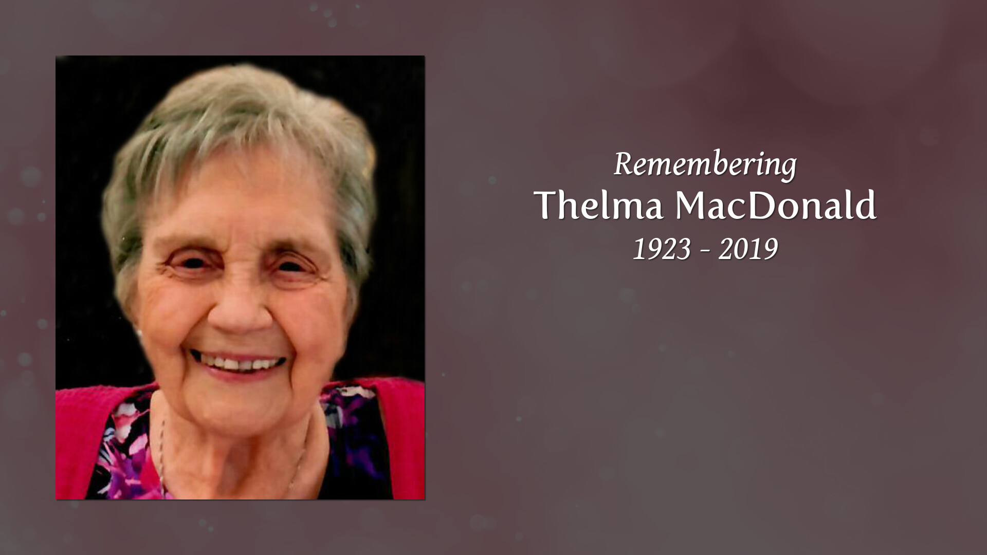 Obituary for Thelma Grace (Hayes) MacDONALD | Shanidar Funeral Services