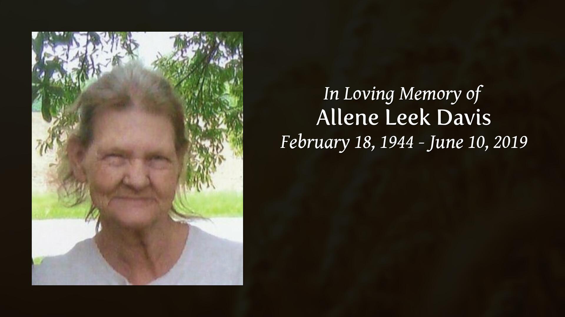 Allene Simmons tribute video for allene leek davis | lea and simmons