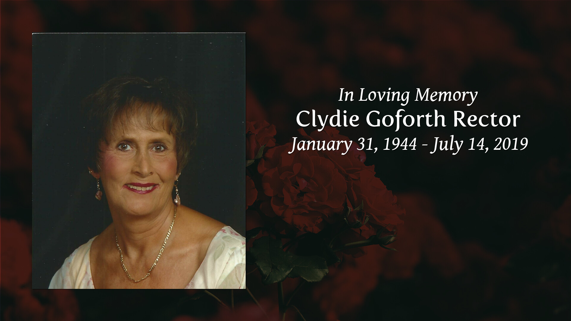 Obituary for Clydie (Goforth) Rector   Adams Funeral Home NC