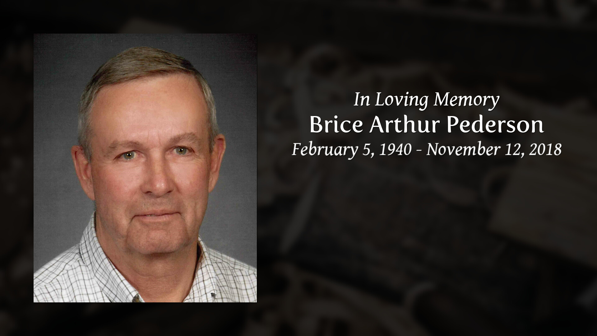 Obituary For Brice A Pederson Gaylord Community Funeral
