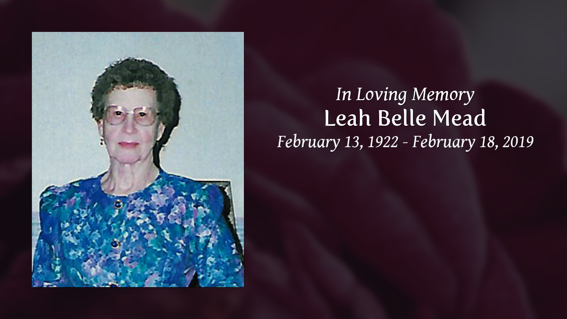 Obituary | Leah Belle Mead | Swaim Funeral Chapel