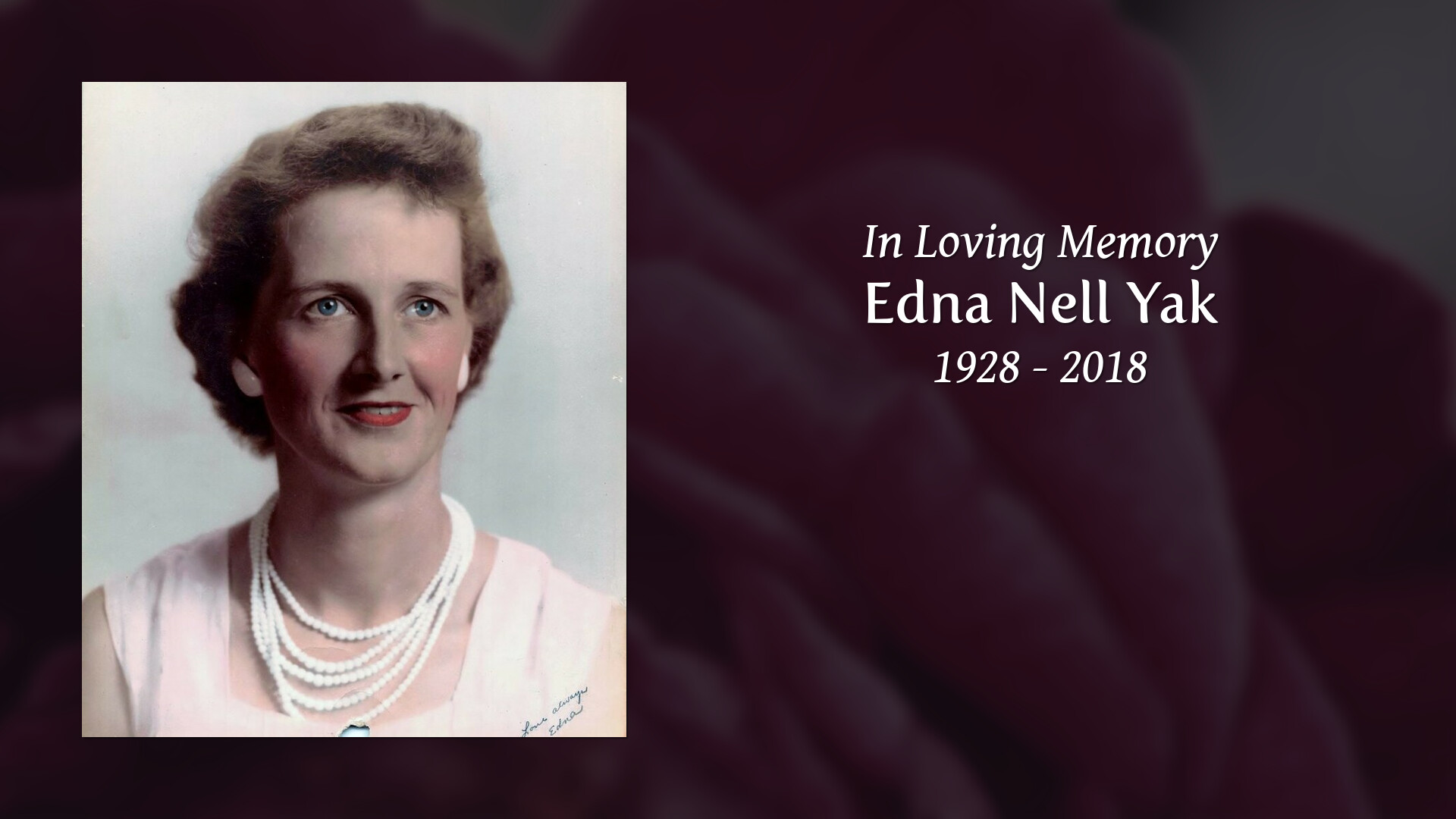 Obituary of Edna Nell Yak | Cumberland Funeral Home