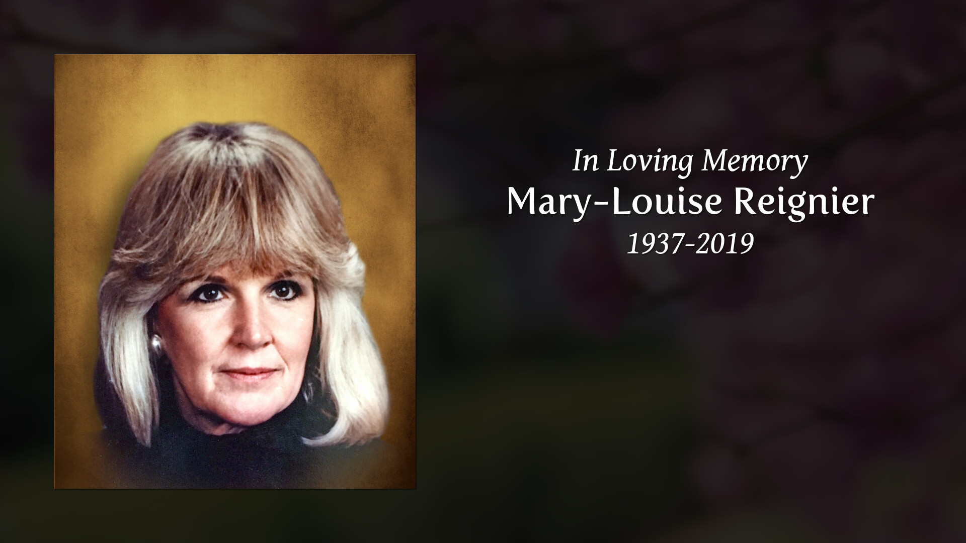 Obituary for Mary-Louise Reignier | Carpino Funeral Home